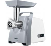 Месомелачка Bosch MFW45020, 500 W - 1600W, Дискове: 3,8 / 8 mm, Приставка за наденици, Бяла