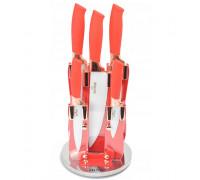 Комплект ножове с поставка zilner zl 5119, 6 части, керамично покритие, червен
