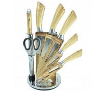 Комплект ножове с поставка zilner zl 5122, 8 части, точило, ножици, неръждаема стомана, дървена дръжка