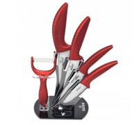 Комплект ножове с поставка zilner zl 5123, 6 части, белачка, керамично покритие, червен