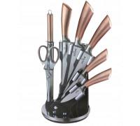 Комплект ножове с поставка zilner zl 5125, 8 части, точило, ножици, неръждаема стомана, бежов