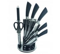 Комплект ножове с поставка zilner zl 5127, 8 части, точило, ножици, неръждаема стомана, черен