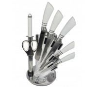 Комплект ножове с поставка zilner zl 5128, 8 части, точило, ножици, неръждаема стомана, бял