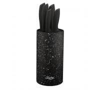 Комплект ножове zephyr zp 1633 vm6, 5 броя + поставка, мраморно покритие, черен