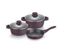 Комплект съдове за готвене Muhler MR-5049, 5 части, люляк, лят алуминий