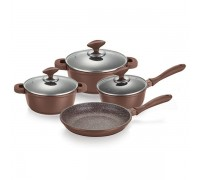 Комплект съдове за готвене Muhler MR-7049, 7 части, шоколад, лят алуминий