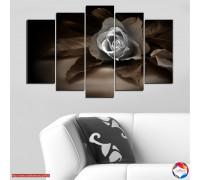 Картина пано Розови листа от хартия от 5 части №0590