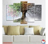 Супер красива картина пано Дървото на сезоните от 5 части №0723