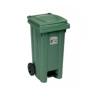 Кош за боклук с педал и колела Stefanplast Зелен 120L