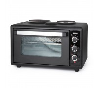 Печка готварска малка TERMOMAX TC46BK, Обем на фурната 46L, 2 котлона, Двойно стъкло на вратата, Черен