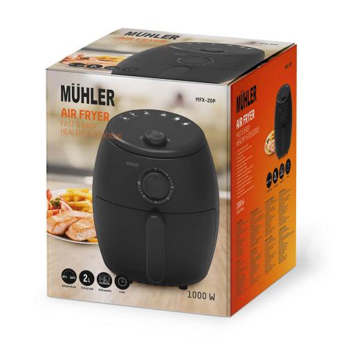 Фритюрник с горещ въздух Muhler MFX-20P, Вместимост 2,0L, Мощност 1000W, Настройка на температурата от 80⁰C до 200⁰C