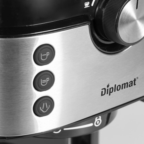 Еспресо машина DIPLOMAT EQ20, 1300W, 20 бара, 1,2 L подвижен прозрачен резервоар