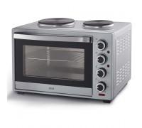 Печка готварска малка Muhler MN-4819S, Фурна с мощност 1600W, 2 котлона, Вентилатор, Сребриста