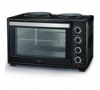 Печка готварска малка Muhler MN-3809 N, 1600W, 2 котлона, Вентилатор, Открити нагреватели, Черна