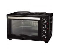 Печка готварска малка Muhler MN-6009 черна, 1600 W, 2 котлона, Вентилатор, 60л обем