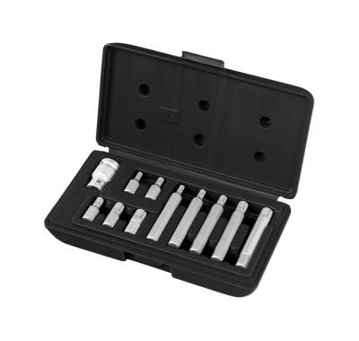 К-т битове SPLINE, 6-стенна опашка 10 mm, вложка 1/2'', 11 части, в пласт. кутия MTX MASTER 113129