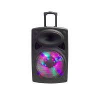 Преносим Високоговорител Elekom ЕК-1201, LED осветен, 300W, 2 безжични микрофона