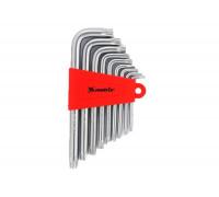 К-т ключове инбусни TORX, 9 бр.: T10-T50, къси, сатенирани MTX 123059