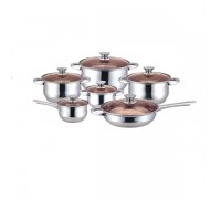 Комплект съдове за готвене Muhler MR-1242, 12 части, Стъклен капак, Ненагряващи се дръжки