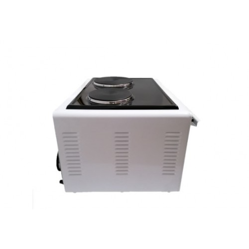 Готварска печка Elite EMO-1209, Вентилатор, 42 л, 2 котлона, Двойно стъкло, Закрит долен нагревател
