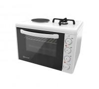 Комбинирана готварска печка ток и газ Eldom 213VFE, 3100 W/1750 W, чугунена плоча, 38 л., бяла