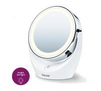 Козметично огледало Beurer BS 49, Със стойка, LED светлина, 5-кратно увеличение, 11 см диаметър, Бял...