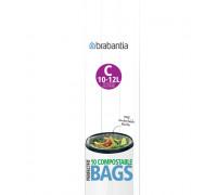 Торба за кош Brabantia PerfectFit Sort&Go/Silent/Touch размер C, 10-12L, 10 броя, зелени, биораз...
