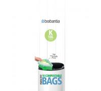 Торба за кош Brabantia PerfectFit Touch размер K, 10L, 10 броя, зелени, биоразградими, ролка