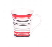 Чаша за чай и мляко 350ml, червени и черни линии