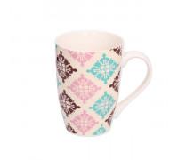 Чаша за чай и мляко 350ml, абстракт розово, жълто и тюркоаз