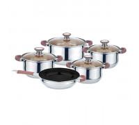 Комплект съдове за готвене Muhler MR-974, 9 части, кафяви