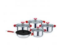 Комплект съдове за готвене Muhler MR-975 9 части, Незалепващо покритие, Трислойно капсуловано дъно, червени