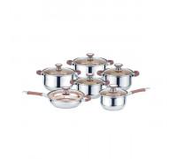 Комплект съдове за готвене Muhler MR-1274, 12 части, кафяви