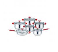Комплект съдове за готвене Muhler MR-1275, 12 части, червени
