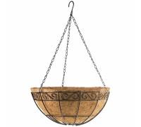 Кашпа висяща с орнаменти, D 300 mm, метална с кокосова кошница// PALISAD 690048