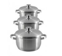 Комплект тенджери Elekom висококачествена неръждаемна стомана - 6 части, Метален капак, Метални дръжки
