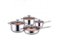 Комплект съдове за готвене Muhler MR-842, Ненагряващи се дръжки, 8 части, Стъклени капаци