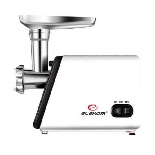 Електрическа месомелачка Elekom ЕК-312, Подходяща за всички видове месо, 1200W, Метален зъбен вал, Обратен ход на въртене, Метални мелещи плочи, S/S режещи ножове