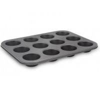 Форма за мъфини и кексчета ESPERANSA ES 1223 GS, 12 форми, Въглеродна стомана, Черна