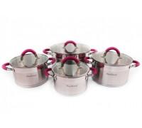 Комплект тенджери с капак HausRoland A-121, 8 части, Подарък престилка, Инокс/розов