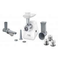Месомелачка Bosch MFW2517W, 1.7 кг/мин, 2 накрайника: 3.8/8 мм, Приставка за домати, 3 рендета, Бял
