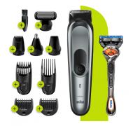 Тример BRAUN MGK7221 + самобръсначка Gillette, мъжка самобръсначка, тример за нос и уши с 10 различни начина на работа