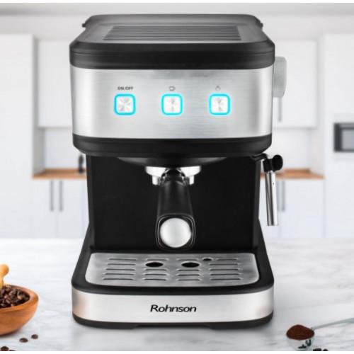 Кафемашина Rohnson R-987, 20 бара, с електроника, Подвижен прозрачен резервоар, Синя подсветка на бутоните, Лесно почистване