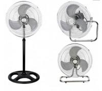 Вентилатор 3 в 1 Sapir SP 1760 M18-3, 55 W, 46 см, 3 скорости, На стойка/настолен/за стена, Спици, Черен/сребрист