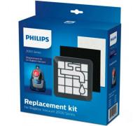 Комплект за подмяна PHILIPS XV1220/01, съвместим с прахосмукачка без торба от серия 2000, съдържа филтри за изходящия въздух и мотора