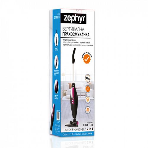 Вертикална и ръчна прахосмукачка 2в1 ZEPHYR ZP 1001 TR, 800W, 1.2 литра, Без торба, Черен/розов