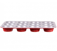 Форма за мъфини ZEPHYR Red Passion ZP 1223 EG, 12 мъфина, Мраморно покритие, Червен
