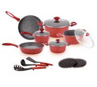 Комплект съдове, прибори и подложки ZEPHYR ZP 4418 E15 Red Passion, Мраморно покритие, Червен