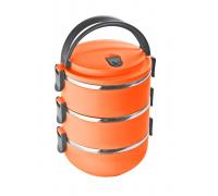 Термо Кутия за пренос на храна Elekom EK-GH3 3 отделения, неръждаема стомана, син/ зелен/ оранжев