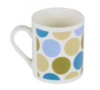 Чаша за чай и мляко 350ml, сини и зелени точки